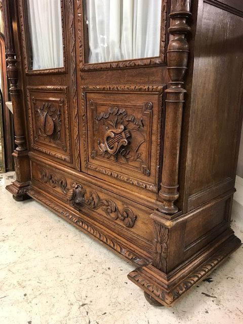 Antique French Armoire - bookcase - Linen Press -  k12